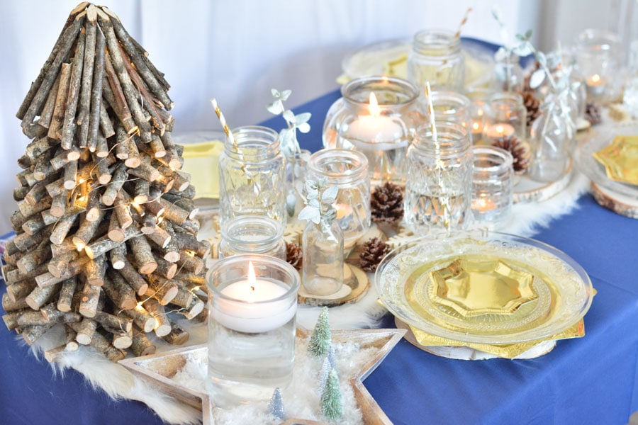 10 table noel doré bleu