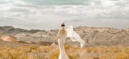 blog bride in wedding dress standing in wilderness